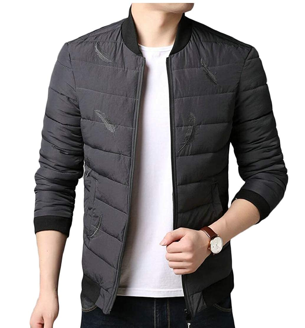 CYJ-shiba Mens Winter Slim Fit Warm Quilted Bomber Jacket Padded Puffer Outerwear