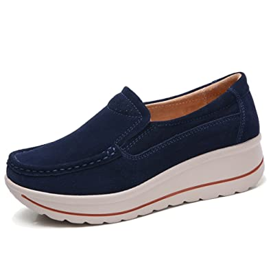 69e203864d815 YKH Womens Platform Shoes Slip On Comfortable Work Shoes Wide Width Suede  Moccasins Loafers US 5.5
