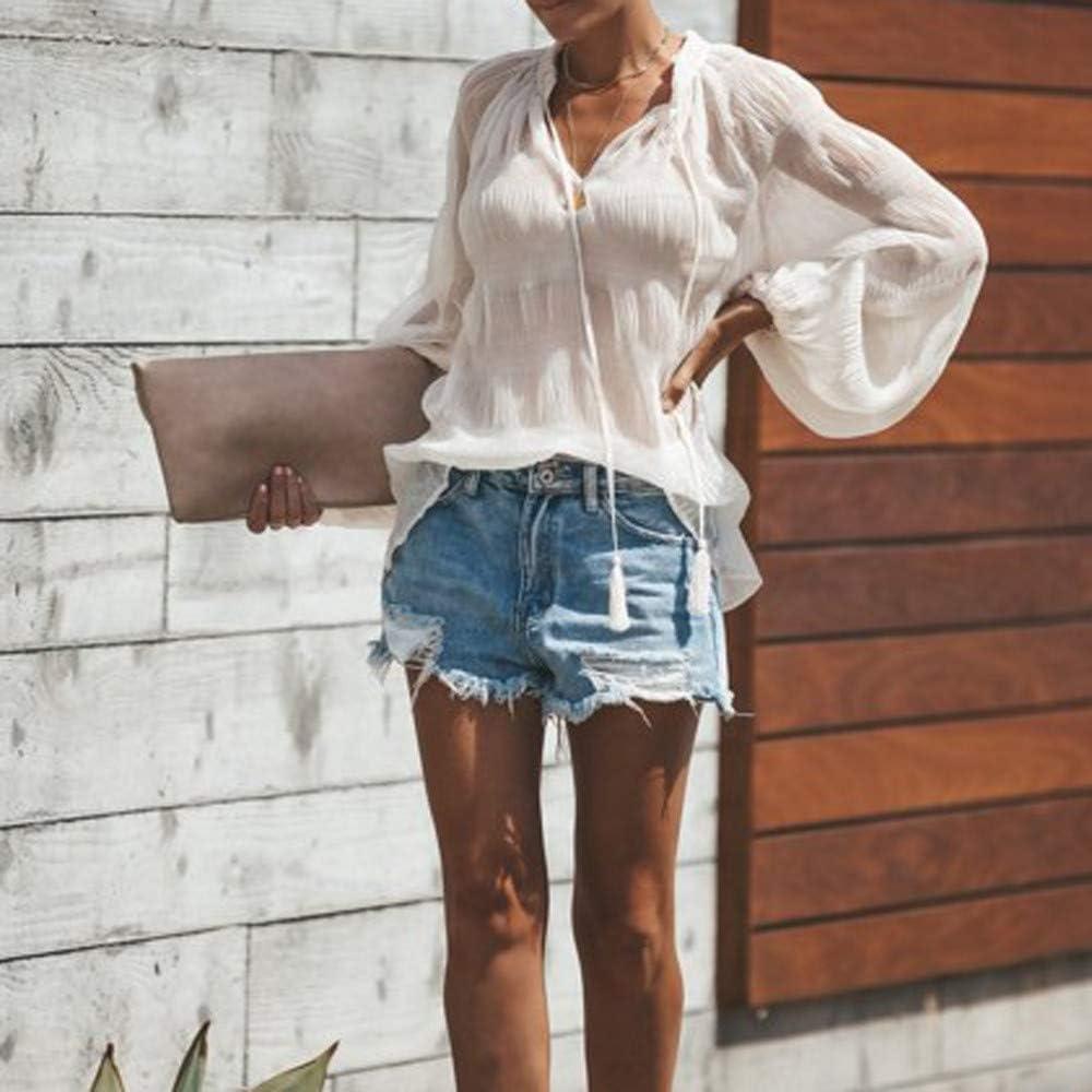 Chiffon Blusas Mujer Transparentes Camisas Manga Larga V-Cuello Primavera Verano Tul Manera De La Playa Tops Elegante Tunicas Blanco: Amazon.es: Ropa y accesorios