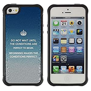 Suave TPU GEL Carcasa Funda Silicona Blando Estuche Caso de protección (para) Apple Iphone 5 / 5S / CECELL Phone case / / Crown Perfect King Inspiring Message /