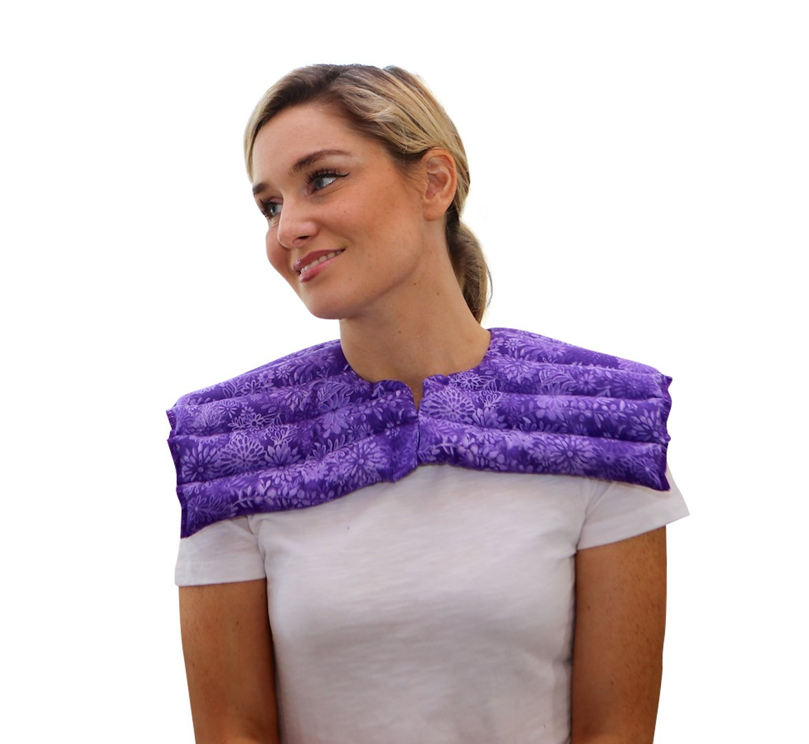 Upper Body Neck & Shoulder Wrap- Microwavable & Reusable - Hot and Cold Therapy for Anxiety, Stress, Tension Relief by Nature Creation (Purple Flowers) by Nature Creation