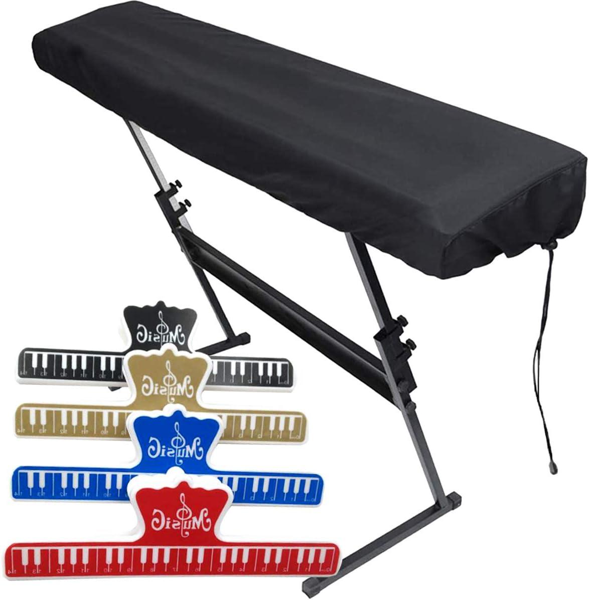 OSUTER Cubierta para el Teclado de Piano con 4PCS Clips de Música Partituras Respirable Cubierta Piano para Piano Digital Yamaha Casio Roland ...