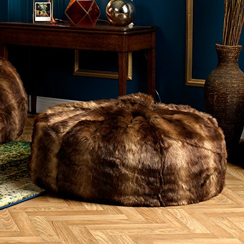 Icon Faux Fur Bean Bag Chair Brown Bear Extra Large