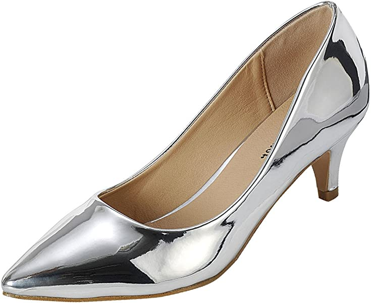 402b994cf3d Forever Womens Pointy Toe Metallic Kitten Med Low Stiletto Heel Slip On Pump  Slide Shoes 7.5
