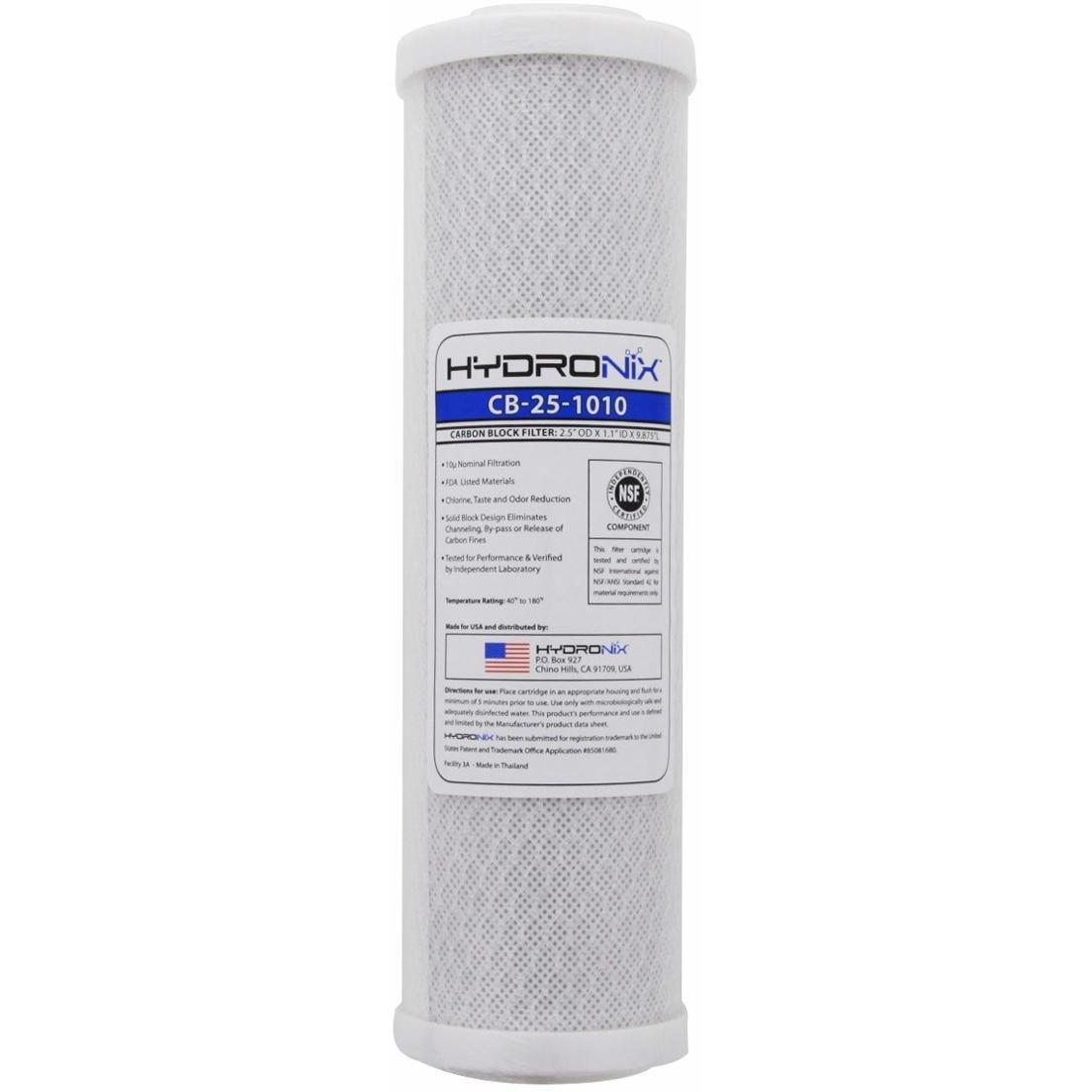 Hydronix CB-25-1010 NSF Carbon Block Filter 2.5-Inch OD X 9 7/8-Inch Length, 10 Micron