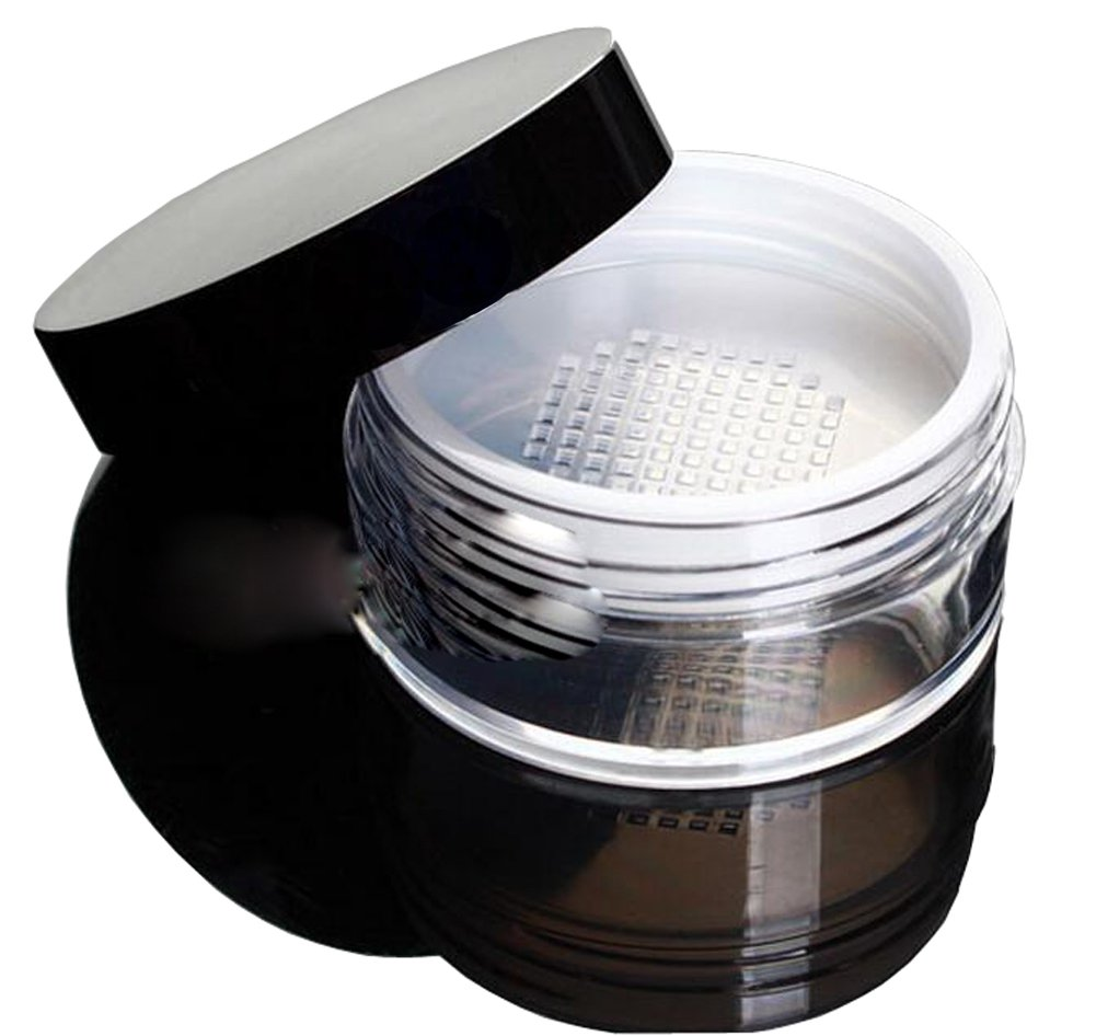 1PCS 60G Loose Powder Puff Box- Make up Jar Case with Sponge Powder Puff Sifter Cosmetic Storage Containers Elandy