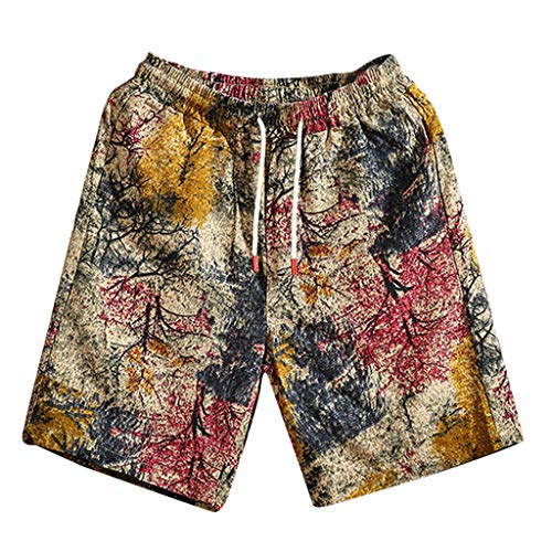 ZEFOTIM Casual Shorts for Mens New Summer Fashion Casual Loose Belt Drawstring Printing Beach Shorts Pants(Red,X-Large) ()