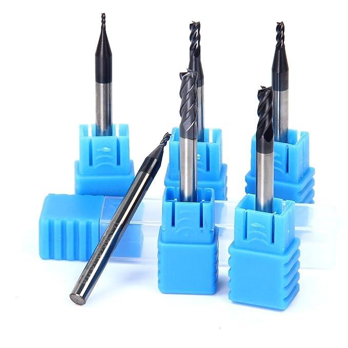 2 opinioni per Latinaric 6 pezzi CNC Gambo Dritto Frese Con per Taglio Acciaio, 1mm 1.5mm 2mm