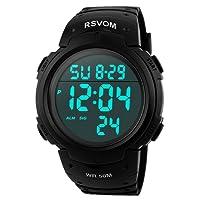 Para la práctica de deportes de los relojes digitales - 50 m impermeable deporte reloj con alarma Cronómetro, color negro Big Face Running reloj de pulsera con