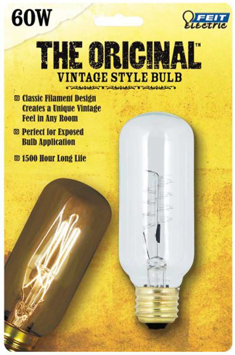 Feit Electric BP60T14 (6 PACK) 60W Vintage Original Edison T14 Tubeular Spiral Filament Incandescent Bulb