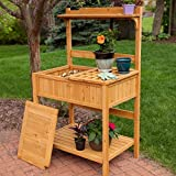 Best Outdoor Patio Garden Weather Resistant Hard Fir Wood Potting Table Stand Bench With Storage Organizer Tool Hooks Shelves- Perfect Way For All Home Gardeners To Work In Comfort- Green Thumb Winner