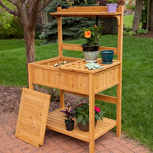 Best Outdoor Patio Garden Weather Resistant Hard Fir Wood Potting Table Stand Bench With Storage Organizer Tool Hooks Shelves- Perfect Way For All Home Gardeners To Work In Comfort- Green Thumb Winner by Coastal Creations