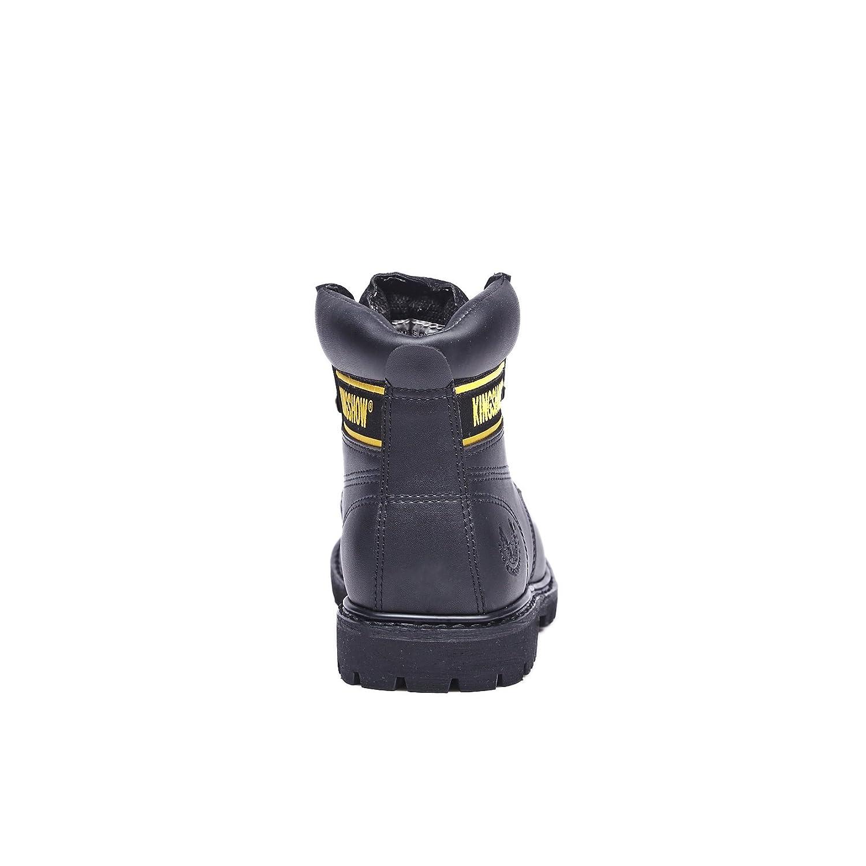 KINGSHOW Mens 1406 Premium Full-Grain Leather Plain Rubber Sole Soft Toe Work Boots