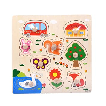 Humorous Random Style Kids Baby Educational Toy Colorful Kid Wooden Animals Cartoon Picture Puzzle Train Children Newborn Early Education Toys & Hobbies