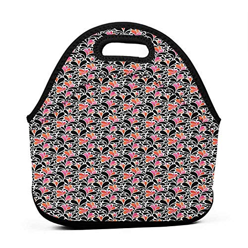 Convenient Lunch Box Tote Bag Abstract,Paisley Style Pattern of Water Splashes Ombre Motifs with Floral Influences, Coral Pink Black,for u designs lunch bag