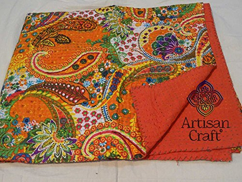 Artisan Craft Printed Cotton Kantha Quilt, Paisley Pattern Kantha Bed Cover, Queen Size, Orange Color, Reversible Handmade Kantha Throw, Floral Print