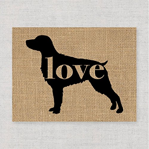 Dog Breed Brittany Spaniel - Brittany Spaniel Love: An Unframed 8x10 Dog Breed Wall Art Print on Laminated Burlap