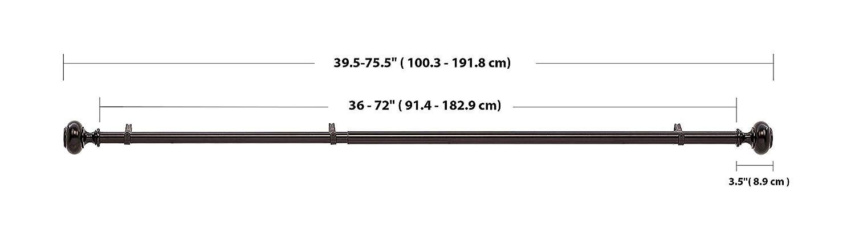 nichel da 183 a 366 cm Basics con terminali a manopola Bastone per tenda da 3 cm