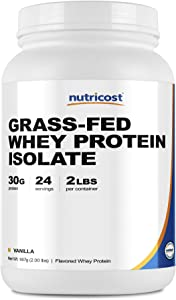 Nutricost Grass-Fed Whey Protein Isolate (Vanilla) 2LBS - Non-GMO, Gluten Free, Natural Flavors