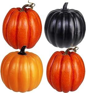 Halloween Pumpkins Assorted Artificial Pumpkins Decorations for Halloween Holiday Seasonal Décor 4 pcs Orange & Black