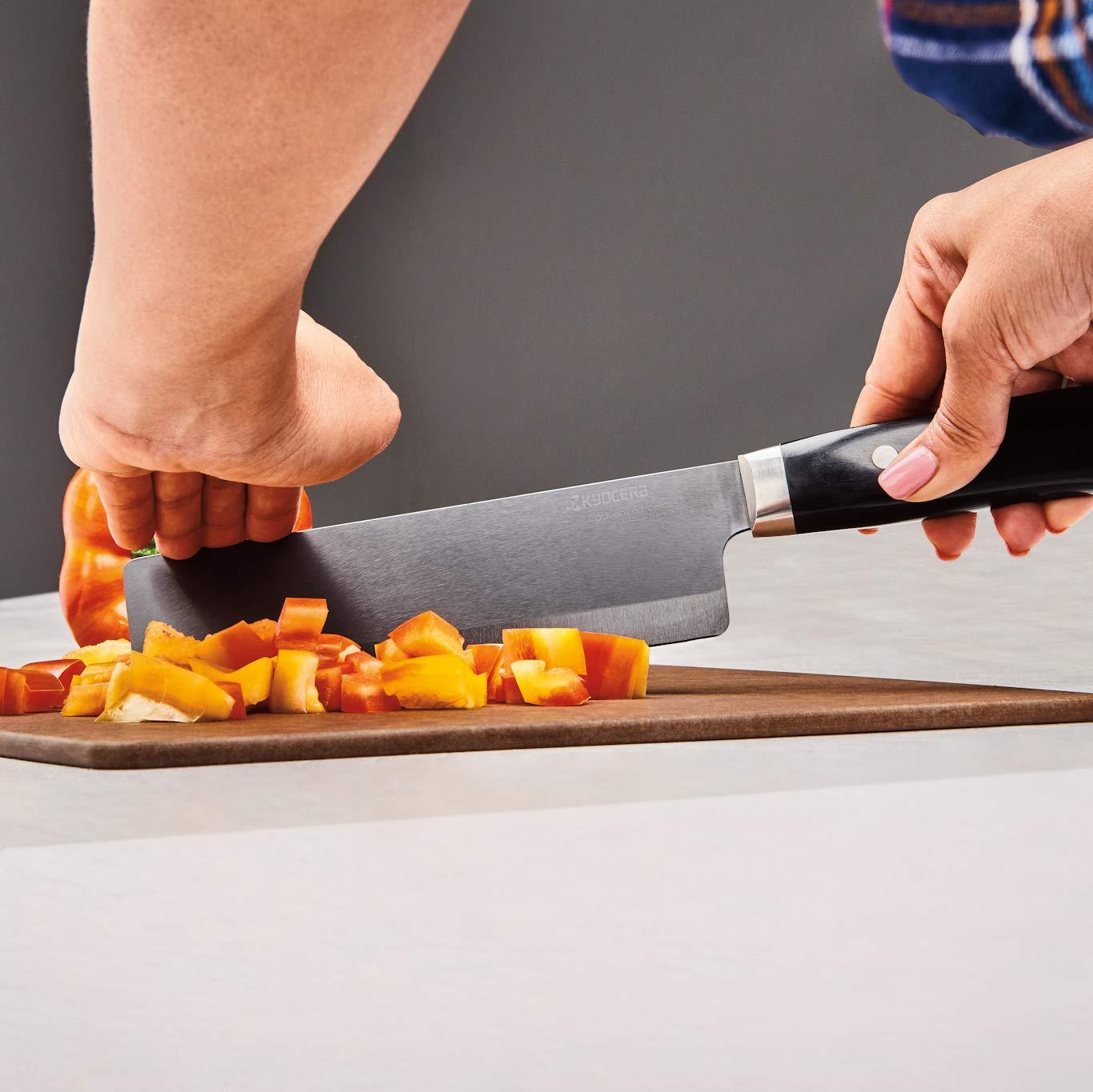 Kyocera Advanced Ceramic LTD Series Nakiri Knife with Handcrafted Pakka Wood Handle, 6-Inch, Black Blade by Kyocera (Image #3)