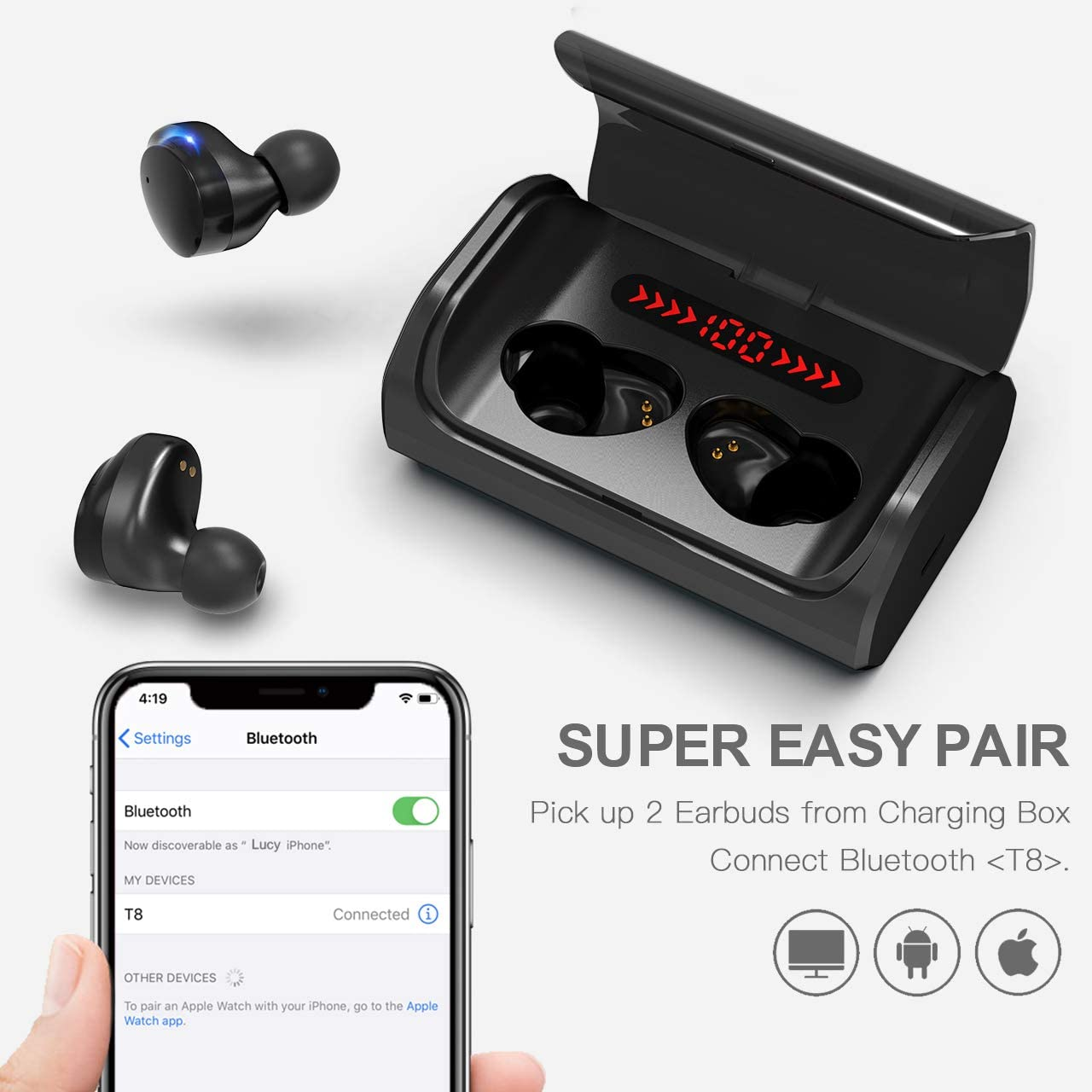 【Latest Model】Wireless Earbuds Headphones HD Stereo Sound Sports Headsets with Built-in Noise Canceling Mic for iPhone Android AIKELA Bluetooth 5.0 Headphones in Ear Auto Pairing Wireless Earphones