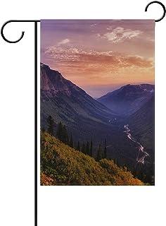 Lennel Giardino di casa Bandiera Banner {Spac} Pollici Sunrises Sunsets Mountains Forests House Bandiera Decorativo per Festa di Nozze Home Indoor Outdoor Decor, 12x18(in)