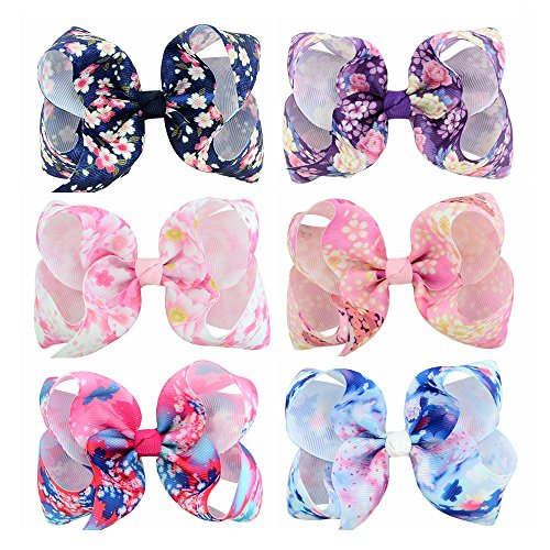 WarmGo 6pc/set 4'' Colorful Boutique Hair Bows Clips Grosgrain Ribbon For Baby Girls Teens Toddlers Kids Children