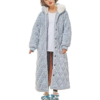 Bata para Damas Botón De Talla Grande Y De Lujo con Capucha Loungewear, Bata Matutina