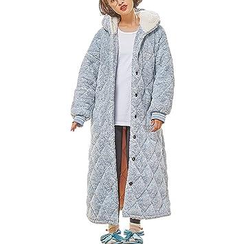 Bata para Damas Botón De Talla Grande Y De Lujo con Capucha Loungewear, Bata Matutina Mañana (Color : Azul, Tamaño : Metro): Amazon.es: Hogar
