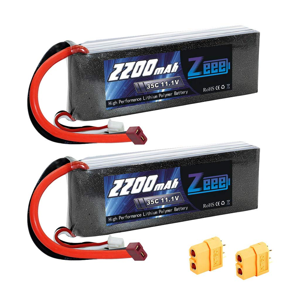 Zeee 2200mAh 3S 11.1V 35C Rechargeable LiPo Battery Pack with Deans (XT60) Connector for DJI Airplane RC Quadcopter Drone and FPV (2Pcs)