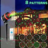 Christmas Laser Lights Show Red and Green 8 Patterns Waterproof Outdoor Laser Projector Light with Remote Control for Christmas, Holiday, Party, Landscape, and Garden Decorations