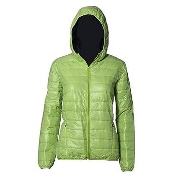 Koly Delgado caliente de invierno Color caramelo Slim mujer abajo chaqueta (Verde, XL): Amazon.es: Deportes y aire libre