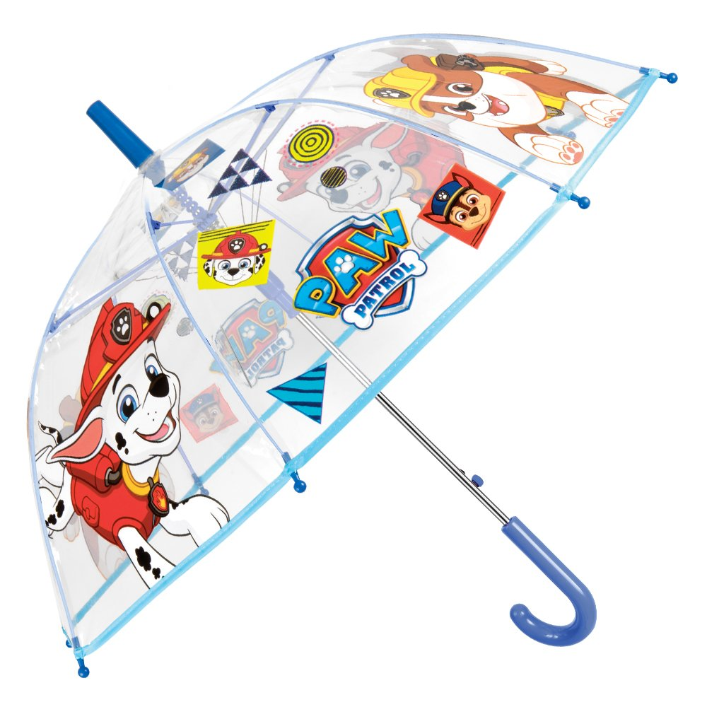 Parapluie Paw Patrol Enfant - Parapluie Transparent Cloche Garçon La Pat Patrouille - Impression Marcus et Ruben - Solide, Antivent et Long- Ouverture Automatique - 5/8 Ans - Diamètre 74 cm - Perletti 75125