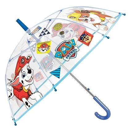 Paraguas Transparente La Patrulla Canina Niño Estampado Marshall y Chase - Paraguas Infantil de Burbuja Resistente Antiviento y Largo - Apertura ...