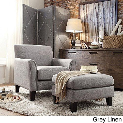 TRIBECCA HOME Uptown Modern Accent Chair and Ottoman Gray Linen (Chair Modern Ottoman)
