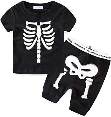Mud Kingdom Glow in The Dark Kids Skeleton Home Clothes Sets