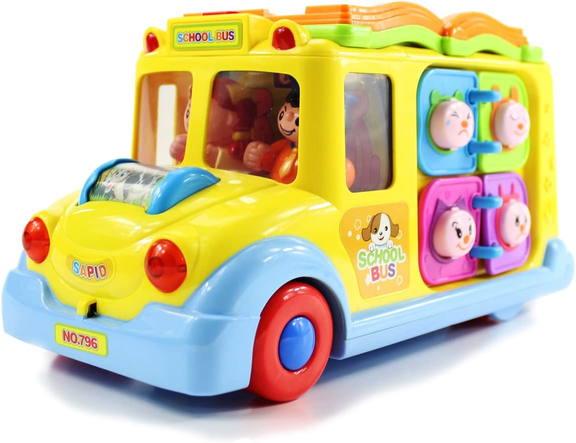 fisca Baby Toys Intellectual School Bus, Electronic Musical Driving Car with Lights and Sounds, Learning Educational Interactive Toddler Toys for Girls Boys