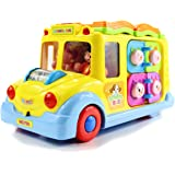 fisca Intellectual Musical School Bus, Learning Educational Toys for Baby & Toddler, Electronic Car with Lights for 1 2 3 Year Old Boys and Girls