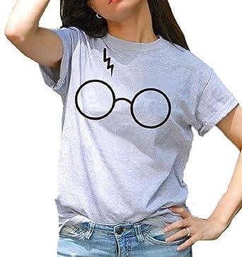 d2e06e331 UR Ladies Women Harry Potter Glasses Cute Print Short Sleeve Crew Neck T- Shirts Grey