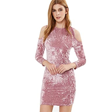 9fb8e15f57fe MoonShine Clothing Sexy Dresses Party Night Club Dress Sexy Dress Club Wear  Pink Cold Shoulder Crushed