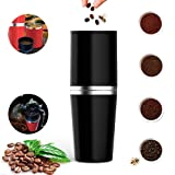 AIGUMI Coffee Machine, Portable Hand Coffee Grinding Set All-in-one Coffee Maker Tumbler Hand Mill Grinder No Electric Outdoor Cappuccino Camping Hiking Travel On The Move (Black)