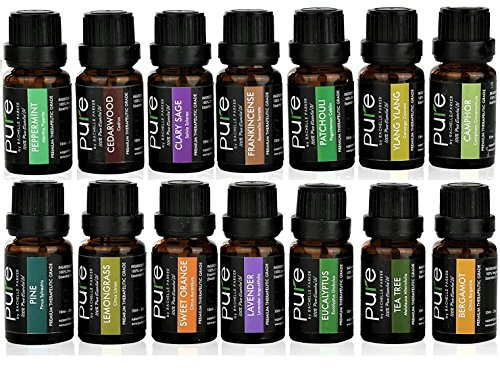 14 PURE Essential Oils Set Variety Pack. FRANKINCENSE, PATCHOULI, CLARY SAGE, BERGAMOT, LAVENDER, YLANG YLANG, CAMPHOR, CEDARWOOD, PINE, TEA TREE, LEMONGRASS, ORANGE, EUCALYPTUS, PEPPERMINT! (Sage Cedarwood)