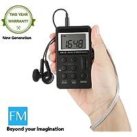 Radio Portatili Mini Professionali Mesuvida Ricevitore Radio FM AM Tascabile a Batteria Ricaricabile con Auricolari, Funzione Orologio Digitale - Nero