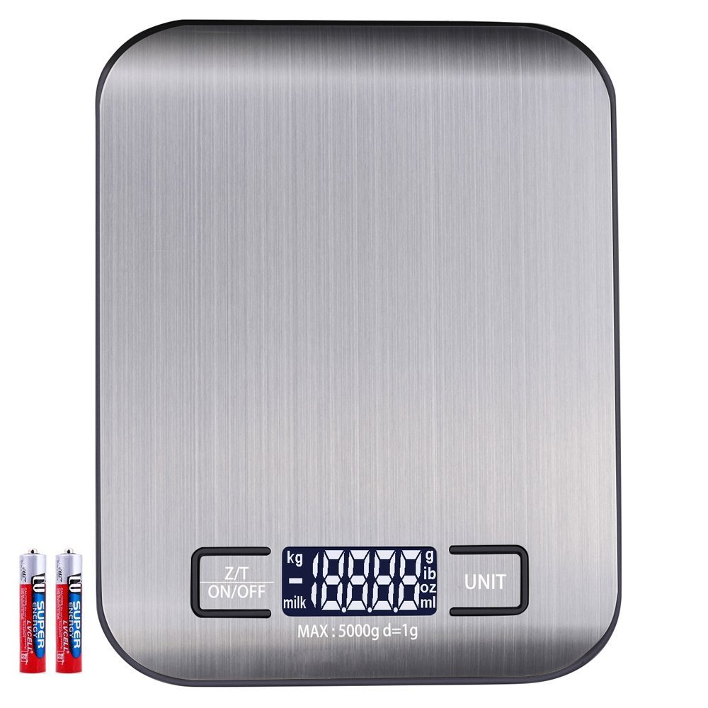 Balance de Cuisine Numérique Balance Electronique 5 kg Poids maximal (haute précision jusqu'à 1 g), fonction tare, avec 5 unités (G, kg, IB, oz, ML) et grand écran LCD, batterie inclus avec 5 unités (G Anbero