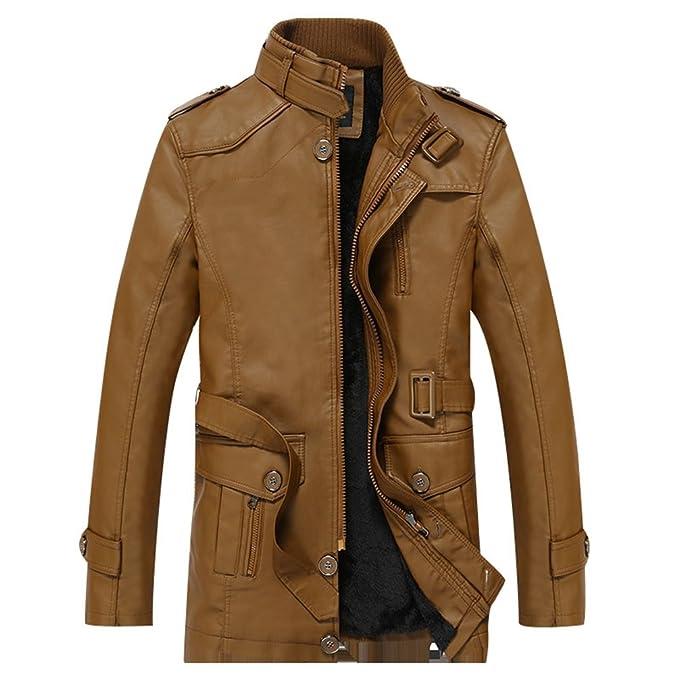 ZKOO Hombre Larga Chaqueta Abrigo de Imitación Piel Otoño e Invierno Moto Jacket Cazadora con Vellón Forrado Ajustado Rompevientos Caliente