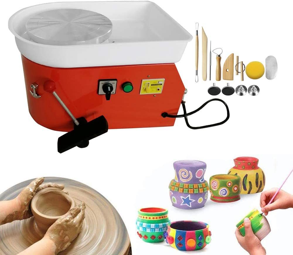 Pottery Forming Machine Household Ceramic Machine LCD Display Pottery Wheel Children Kids DIY Pottery Tools for Ceramic Work Clay Art Craft 250W US