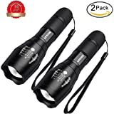 2 Pack LED Tactical Flashlight, Handheld Flashlight High Lumens with 5 Modes and Zoom Function - Water Resistant, Adjustable Focus-Rechargeable 18650 or AAA Battery, Best for Camping and Hiking