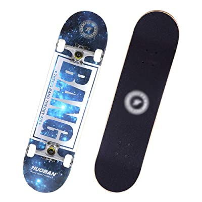 Skateboards for Beginners Adult, Skateboards -Standard Skateboards for Kids Boys Girls Youths, 8 Inches X 32 Inches 7-Layer Maple Panel Aluminum Alloy Bracket Skateboard. (Color : B) : Sports & Outdoors