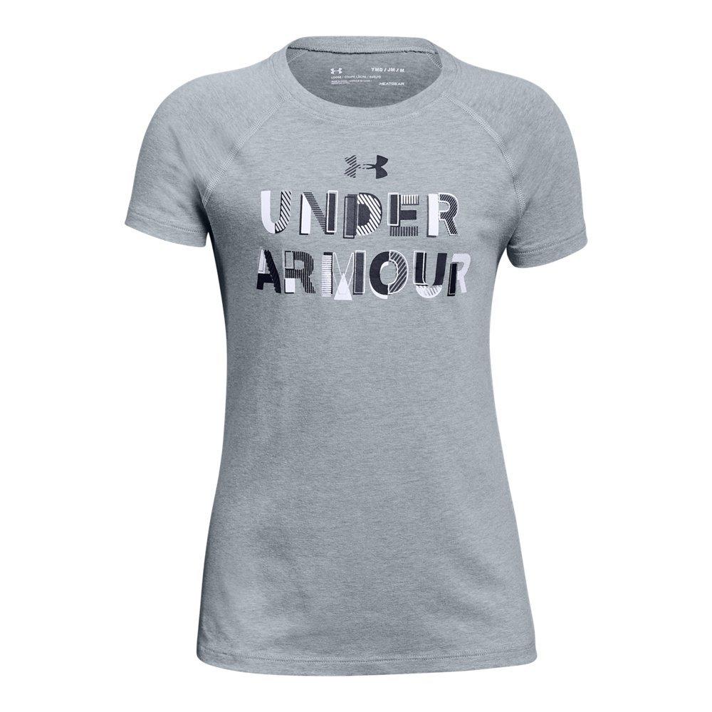 Under Armour Girls' Asymmetric Branded T-Shirt, Steel Light Heather (035)/Black, Youth Medium